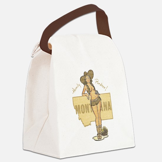 Faded Montana Pinup Canvas Lunch Bag