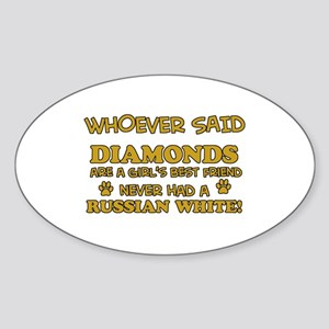 Russian White Cat breed designs Sticker (Oval)