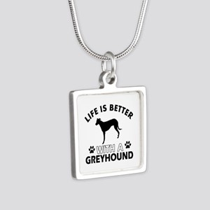 Greyhound dog gear Silver Square Necklace