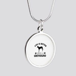 Greyhound dog gear Silver Round Necklace