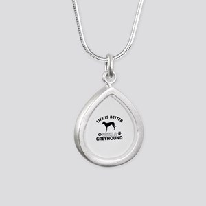 Greyhound dog gear Silver Teardrop Necklace