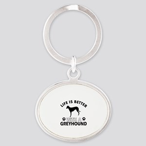 Greyhound dog gear Oval Keychain