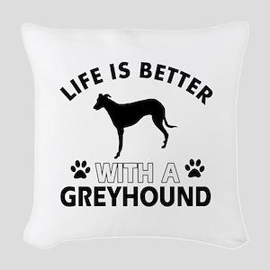 Greyhound dog gear Woven Throw Pillow