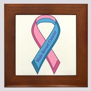 Male Breast Cancer Awareness Ribbon Framed Tile