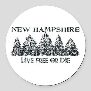 Live Free or Die Round Car Magnet