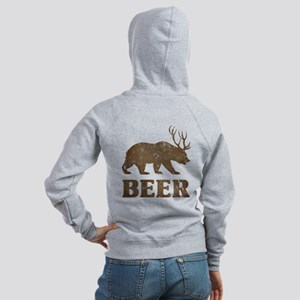 Bear+Deer=Beer Vintage Women's Zip Hoodie
