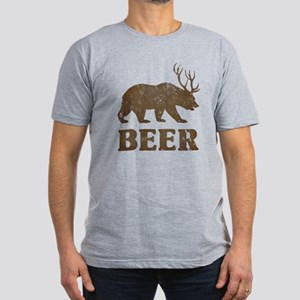 Bear+Deer=Beer Vintage Men's Fitted T-Shirt (dark)