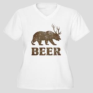 Bear+Deer=Beer Vintage Women's Plus Size V-Neck T-
