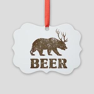 Bear+Deer=Beer Vintage Picture Ornament