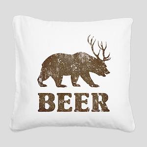 Bear+Deer=Beer Vintage Square Canvas Pillow