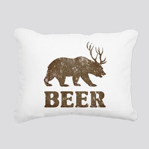 Bear+Deer=Beer Vintage Rectangular Canvas Pillow