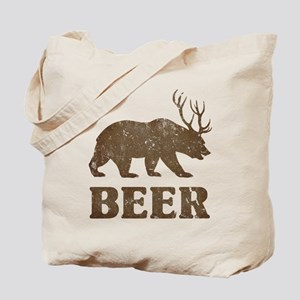 Bear+Deer=Beer Vintage Tote Bag