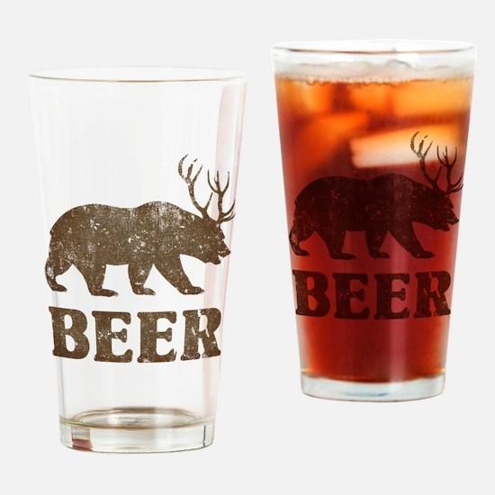 Bear+Deer=Beer Vintage Drinking Glass