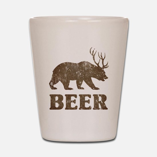 Bear+Deer=Beer Vintage Shot Glass