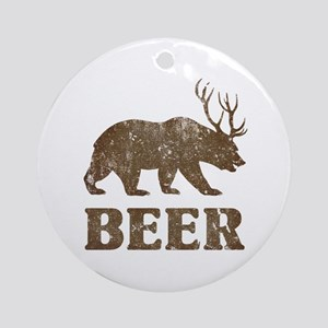 Bear+Deer=Beer Vintage Ornament (Round)