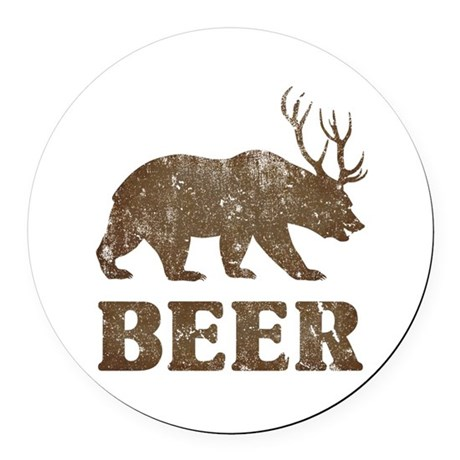 Bear+Deer=Beer Vintage Round Car Magnet
