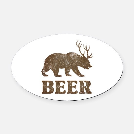 Bear+Deer=Beer Vintage Oval Car Magnet