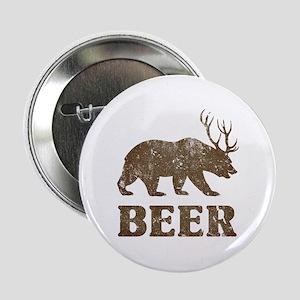 "Bear+Deer=Beer Vintage 2.25"" Button"