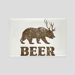 Bear+Deer=Beer Vintage Rectangle Magnet