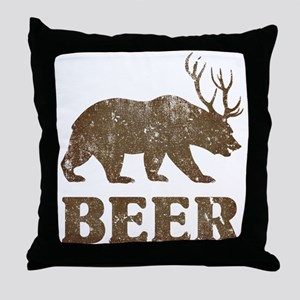 Bear+Deer=Beer Vintage Throw Pillow