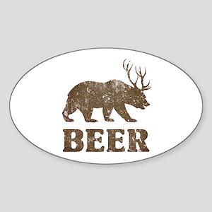 Bear+Deer=Beer Vintage Sticker (Oval)