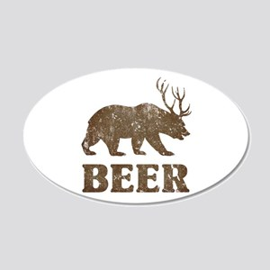 Bear+Deer=Beer Vintage 20x12 Oval Wall Decal
