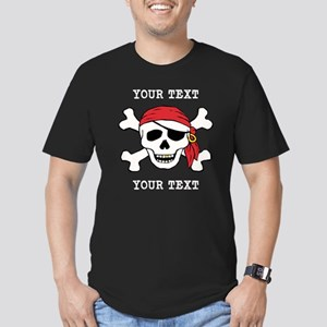 PERSONALIZE Funny Pirate Men's Fitted T-Shirt (dar