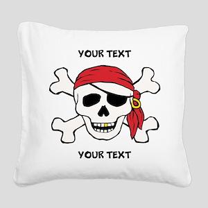 PERSONALIZE Funny Pirate Square Canvas Pillow