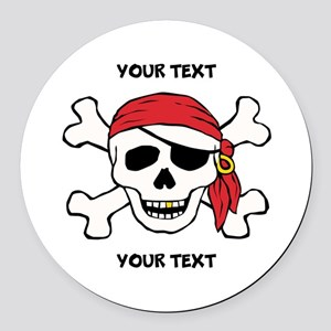 PERSONALIZE Funny Pirate Round Car Magnet