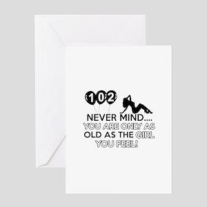 102th year old birthday designs Greeting Card