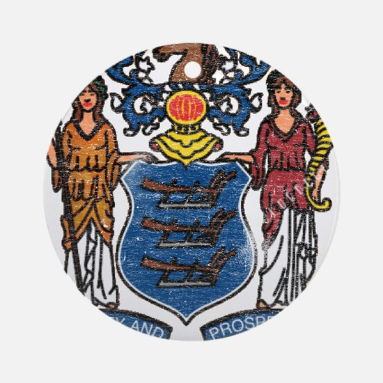 New Jersey State Flag Ornament (Round)