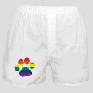 Gay Pride Rainbow Paw Print Boxer Shorts