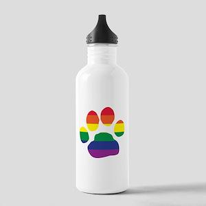 Gay Pride Rainbow Paw Print Water Bottle