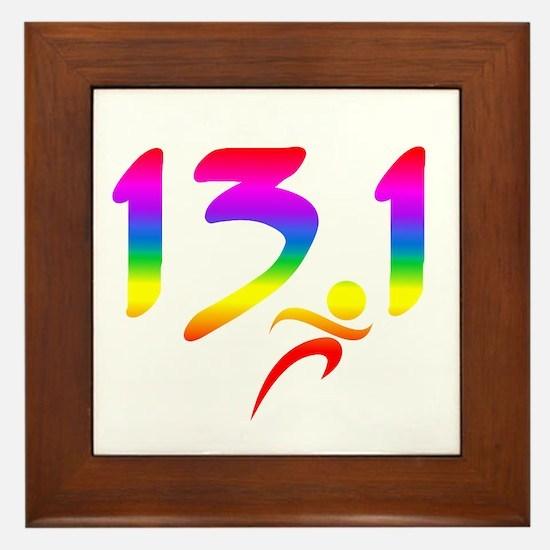 Rainbow 13.1 half-marathon Framed Tile