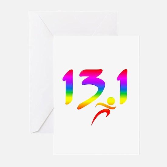 Rainbow 13.1 half-marathon Greeting Cards (Pk of 1