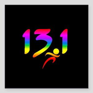 """Rainbow 13.1 half-marathon Square Car Magnet 3"""" x"""