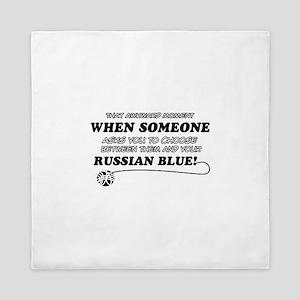Funny Russian Blue designs Queen Duvet