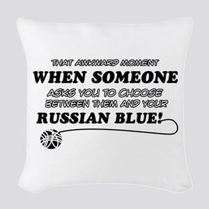 Funny Russian Blue designs Woven Throw Pillow