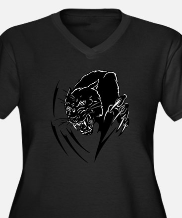 BLACK PANTHER Women's Plus Size V-Neck Dark T-Shir
