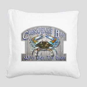 Chesapeake Bay Blues Square Canvas Pillow