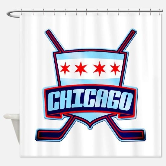 Chicago Hockey Flag Logo Shower Curtain