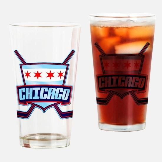Chicago Hockey Flag Logo Drinking Glass