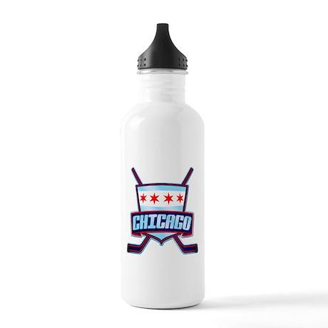 Chicago Hockey Flag Logo Water Bottle