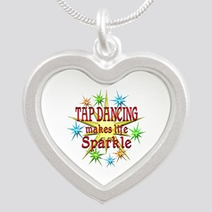 Tap Dancing Sparkles Silver Heart Necklace