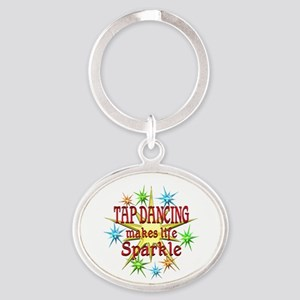 Tap Dancing Sparkles Oval Keychain