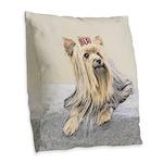 Yorkshire Terrier Burlap Throw Pillow