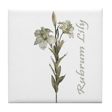 Green Rubrum Lily Flower Tile Coaster