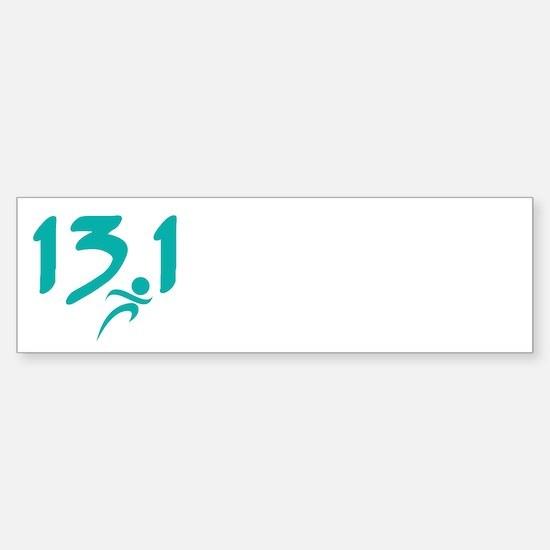 Teal 13.1 half-marathon Bumper Bumper Bumper Sticker