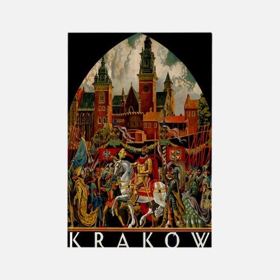 Vintage Krakow Poland Travel Rectangle Magnet