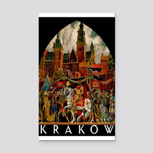 Vintage Krakow Poland Travel Rectangle Car Magnet